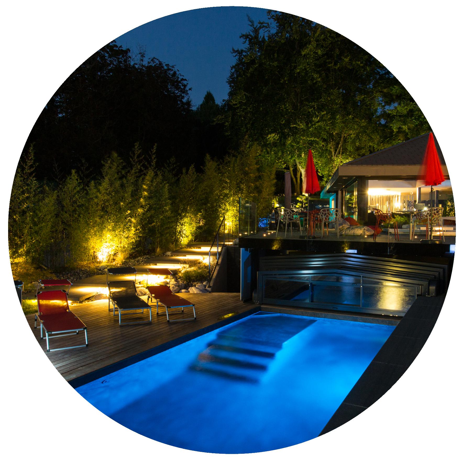 piscine nuit installation logidecor angers